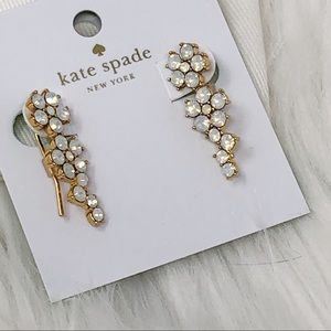 Kate Spade Opal Flower Ear Pins Crawlers Earrings